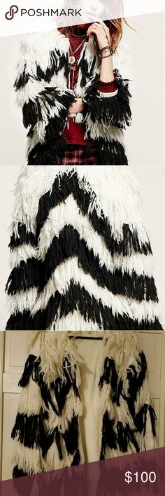 Carolina k free people chevron fringe shaggy cardi Got this a while back from another posher and never wore it,  this is not free people brand but sold on free people website a few years ago, smoke free home free people Jackets & Coats