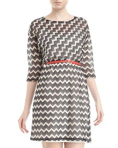 Jocelyn Chevron Belted Dress, Black/White - Last Call by Neiman Marcus