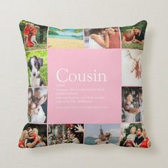 Best Cousin Ever Definition 12 Photo Pink Throw Pillow - tap, personalize, buy right now! #ThrowPillow #worlds #best #ever #cousin, #fun Large Throw Pillows, Modern Throw Pillows, Scatter Cushions, Accent Pillows, Black Throws, Pink Throws, 12 Photo Collage, Cousin Birthday Gifts, Dad Birthday