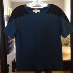 Short Sleeve Loft Dressy Sweatshirt Size M Perfect condition! Beautiful Dark Blue with Black lace accents on the shoulders. Size M. Runs short. LOFT Tops Crop Tops