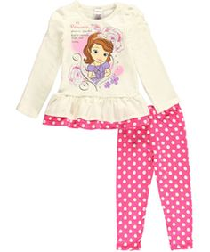 """Sofia the First Little Girls' """"A Princess is…"""" 2-Piece Outfit (Sizes 4 – 6X) $9.99  The polka dot leggings coordinate with the glittery Sofia the First graphic in this exceptionally soft 2-piece."""