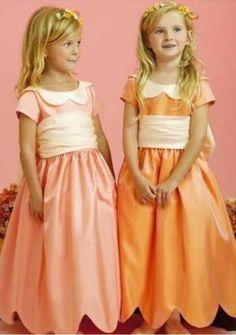 Satin Curve Neckline And Bottom Dress Hem Ball Gown Hot Sell Flower Girl Dress FL