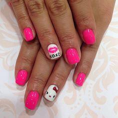 emi_aoki_nails HELLO KITTY #nail #nails #nailart