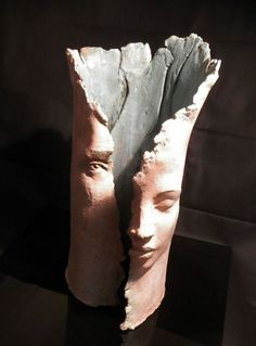 Terracotta Column Pillar Columnar Stele sculpture statuary sculpture by sculptor Paola Grizi titled: 'the dream'