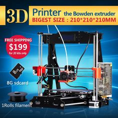 Newest Upgraded Quality High Precision Reprap Prusa I3 3D Printer DIY Full Kits with 1 roll filament 8Gb SD card free shipping   Model: DIY PRUSA-I3 P-802E + 1 Rolls filaments + 8G SD card for Gift Specification: This is DIY kit, parts and components need assemble by yourself ! It is a interesting thing !     US $196.00  http://insanedeals4u.com/products/newest-upgraded-quality-high-precision-reprap-prusa-i3-3d-printer-diy-full-kits-with-1-roll-filament-8gb-sd-card-free-shipping…