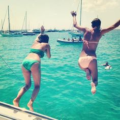 Jumping off a boat in Formentera
