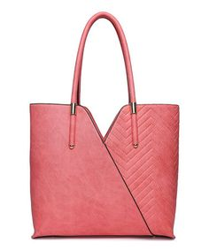 Great lines on this bag. This Coral Quilted Tote is perfect! #zulilyfinds