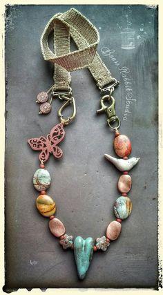 Mixed media necklace jasper ceramic Cherry by BrassRabbitStudio. bird bead by kylie parry studios.