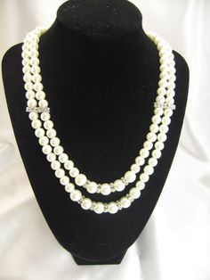 Double Strand Swarovsk Pearl Necklace with Swarovski Crystals Bridal Pearl Necklace