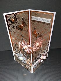 IcedImages: Balcony Front Card Fancy Fold Cards, Folded Cards, Paper Cards, Diy Cards, Ice Images, Birthday Cards, Happy Birthday, Pop Up Box Cards, Butterfly Cards