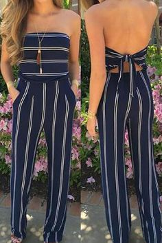 SPECIFICATIONS: Product Name Blue Fashion Stripe Print Backless Jumpsuits Brand Arealook Color Blue SKU Gender Women Style Elegant/Sexy/Fashion Type Jumpsuit Occasion Party/Vacation/Daily Life Material Blended Fabric Sleeve Sleeveless Decoration Stripe Jumpsuit Outfit Dressy, Jumper Outfit Jumpsuits, Jumpsuit Hijab, Prom Jumpsuit, Mode Outfits, Trendy Outfits, Night Outfits, Classy Outfits, Chic Outfits