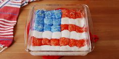 July 4th S'mores Dip...  4 sheets Hershey's Chocolate, 19 Marshmallows, 1 c. Water, 1 c. Red, White, and Blue Sanding Sugar, Graham Crackers (for dipping)...