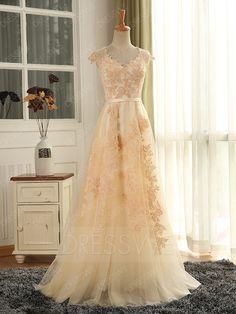 Buy Applique V-neck Sleeveless Belt A-line Floor Length Prom Dress  Online, Dresswe.Com offer high quality fashion,Price: USD$171.49