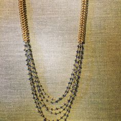 Marchez Necklace - This double link thick vermeil chain is accented with multi strands of blue topaz pyrite chain - $118.00