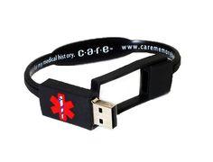 Care Usb Medical History Bracelet Black Health Information Management Edc