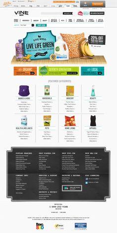 Vine - Natural products for green living - website, web design inspiration showcase, footer design Ideas Prácticas, Web Banner Design, Website Design Inspiration, Showcase Design, Apps, Interface Design, Interactive Design, Page Design, Natural Health