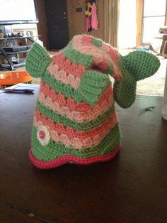 Crochet Fish Hat pink green www.facebook.com/myyarncreations