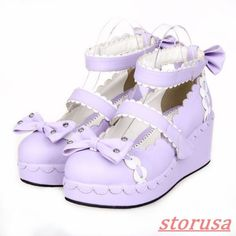 Womens Cute Mary Janes Ankle Strap Bowknot Wedge Heels Shoes Lolita Dress Shoes