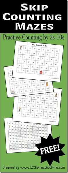 Here is another fun way for your Kindergarten, 1st grade, 2nd grade, and 3rd grader can practice skip counting with these FREE fun maze worksh