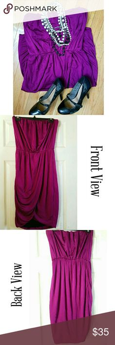 NWOT| RACHEL Rachel Roy {STRAPLESS PLUM DRESS} This dress is very light, soft to the touch. It is similar to many Grecian dresses as it draps in the front toward the right on the top flap of the dress & then to the left w/ the bottom flap, starting at the waist. It also has stretch to it w/ elastic at the top which is great to help keep the dress in place, & then at the waist. Black contrast lining  IMPORTANT: The tag has a tear in it. See the Last Photo/# 4 for reference.  Making an offer…