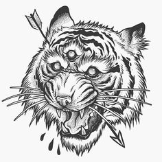 Quick little tiger. Lots to post soon :) Tiger Head Tattoo, Tiger Tattoo Design, Head Tattoos, Body Art Tattoos, Sleeve Tattoos, Tattoo Sketches, Tattoo Drawings, Oni Tattoo, Tattoo Posters