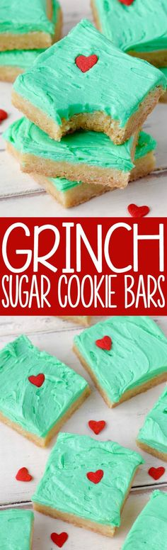 Grinch Sugar Cookie Bars. Easy Christmas dessert recipe!
