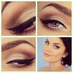 Winged liner and gold shadow