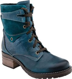 These are my go-to fall boots that I will wear with skirts and pants. Dromedaris Kara lace up ankle boot (Teal)
