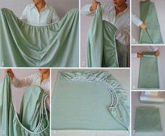 Lastikli çarşafları kullanması çok rahat ancak yıkadıktan sonra katlaması zordur. İşte size bir yöntem, belki işinize yarar! :)