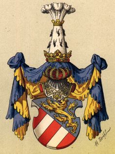 Principality of Görz [now Gorizia/Gorica, partly Italy, partly Slovenia], by Hugo Gerhard Ströhl, Family Tree Research, Austro Hungarian, Family Crest, Central Europe, Floral Border, Crests, Coat Of Arms, Middle Ages, Art History