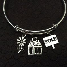 Realtor Bracelet Sold Sign with Flower on Expandable Adjustable Wire Bangle Bracelet Appreciation Gift