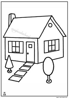 House Coloring Pages. Please print this house coloring pictures on this page. You can see a variety of home so that your children can spend some fun time colori Coloring Sheets For Kids, Animal Coloring Pages, Coloring Pages To Print, Coloring Book Pages, Kids Coloring, House Drawing For Kids, Art Drawings For Kids, Easy Drawings, House Colouring Pictures