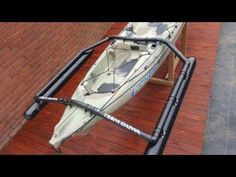 Kayak outriggers, very strong, cheap and they work! Camping En Kayak, Kayak Fishing Gear, Kayaking Gear, Whitewater Kayaking, Canoe And Kayak, Canoeing, Kayaking Outfit, Kayak Cart, Fishing Poles