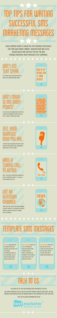 Top Tips for writing successful SMS Marketing Messages #infografia #infographic #marketing