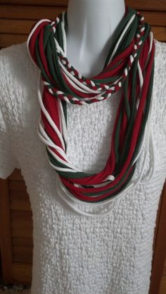 Recycled Christmas T Shirt Scarf by LonestarFashions on Etsy, $15.00