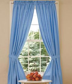 Savannah Seersucker Rod Pocket Curtains - Blue