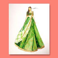 Dress Design Sketches, Fashion Design Drawings, Fashion Sketches, Fashion Drawing Dresses, Fashion Illustration Dresses, Fashion Illustrations, Indian Bridal Fashion, Designer Collection, Fashion Details