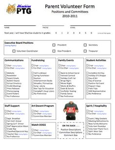 A Volunteer Recruitment form uploaded from the PTO Today File Exchange. A little overkill but interesting pto format Pta School, School Fundraisers, School Ideas, School Stuff, School Week, School Events, Parent Volunteer Form, Parent Teacher Association, Parent Survey