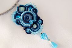 Soutache Pendant / blue navy turquoise / by BeadsRainbow on Etsy, $99.00