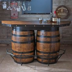 Buy the Tennessee Whiskey Barrel Bar at Wine Enthusiast – we are your ultimate destination for wine storage, wine accessories, gifts and more! Wine Barrel Furniture, Bar Furniture, Automotive Furniture, Automotive Decor, Furniture Design, Wine Barrels, Table Baril, Barrel Projects, Basement Bars