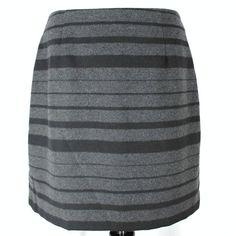 Banana Republic Skirt Sz 14 Black Gray Stripe Wool Blend Pencil Straight New #BananaRepublic #PencilSkirt