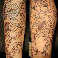 【francois_ft_art】さんのInstagramをピンしています。 《Quick snap of one side of yesterday's leg sleeve I worked on. Colors next. #tattoo #tattoos #tatted #ink #inked #inkedup #art #artist #artwork #tattooartist #japanese #japanesetattoo #legs #legtattoo #koifish #lotus #flowers #cherryblossoms #california #cali #orangecounty #oc #newport #huntingtonbeach #hb #anaheim #fountainvalley #costamesa #santaana #gardengrove》