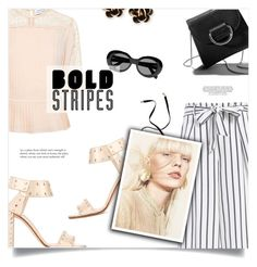 """""""Strong Stripes: Graphic Striped Pants"""" by loloksage ❤ liked on Polyvore featuring Tanya Taylor, Jimmy Choo, Magda Butrym, Little Liffner, Acne Studios and Chantecler"""