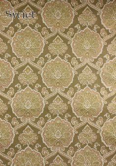 Groen goud zalm barok behang | Swiet