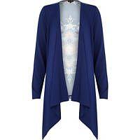 Blue woven back print waterfall cardigan