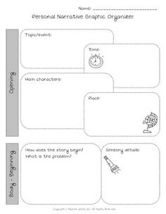 Use this graphic organizer to help students plan and organize a personal narrative. Personal Narrative Graphic Organizer by Nasreen Wahid is licensed under a Creative Commons Attribution-NonCommercial-ShareAlike Unported License. Third Grade Writing, High School Writing, Teaching Writing, Writing Activities, Middle School, Teaching Ideas, Pre Writing, Writing Resources, Writing Ideas
