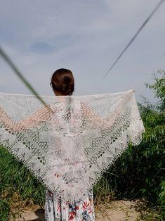 Off White Wedding Knit Shawl Lace Bridal Triangular Wrap | Etsy
