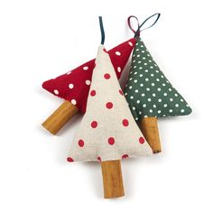 Woodland Christmas Tree Ornaments Rustic Polka by SongoftheSeam