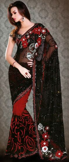 Black and red net sari. I know I'm not Indian but I'm pretty sure that model isn't either.