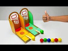 DIY Multiplayer Basketball Arcade Game From Cardboard - Kinderspiele Diy Crafts Games, Diy Games, Diy Crafts For Kids, Fun Crafts, Kids Diy, Basketball Crafts, Arcade Basketball, Basketball Tattoos, Basketball Games For Kids
